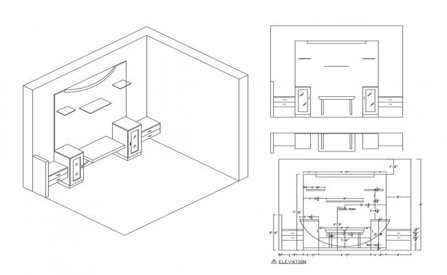 Detail of tv cabinet in autocad