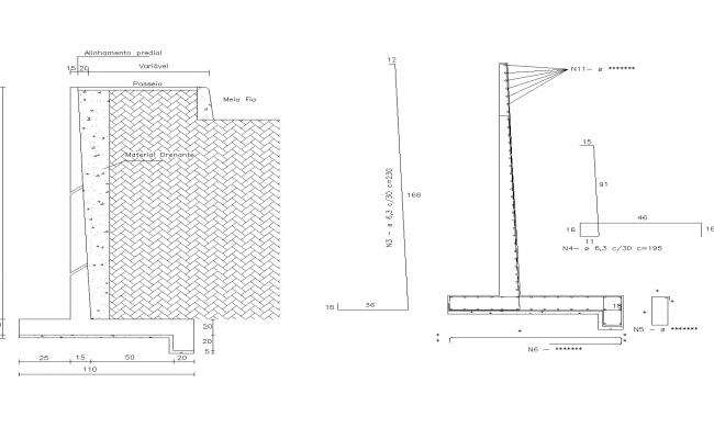 Detail of wall bringing closer to armed concrete layout file