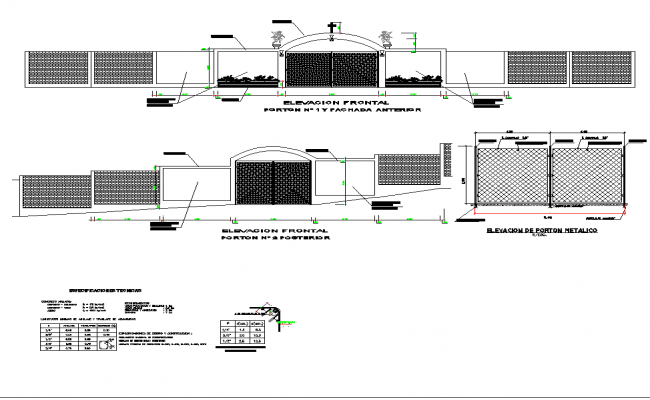 Gate Elevation Free AutoCAD Drawings