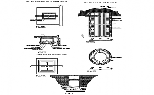 Detail of water meter and septic hole detail plan dwg file