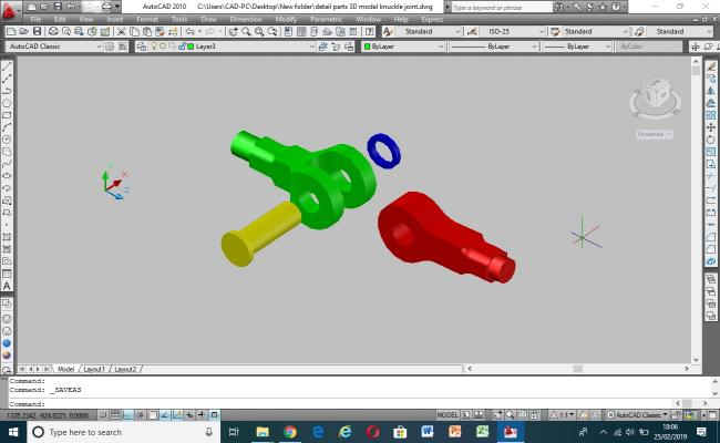 Detail parts 3D model of knuckle joint
