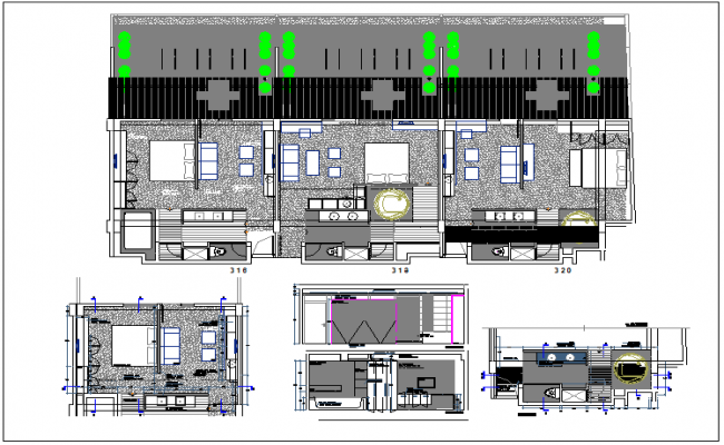 Kitchen Plan Elevation And Section : Detail plan section and elevation view of hotel