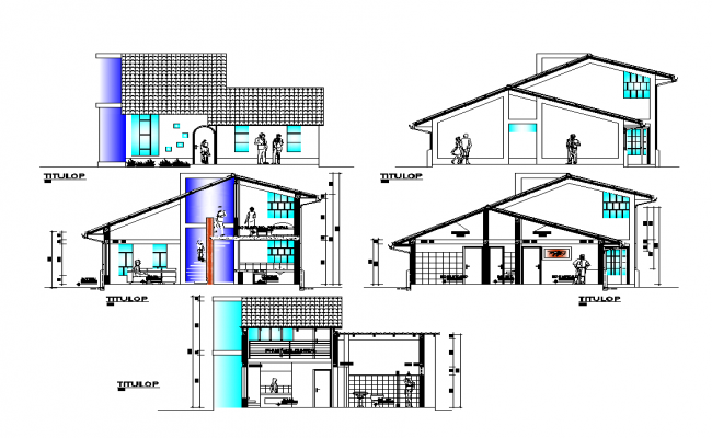 Detail residential building section 2d view layout autocad file