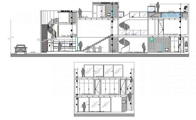 Detail section and elevation Houses three floors plan autocad file