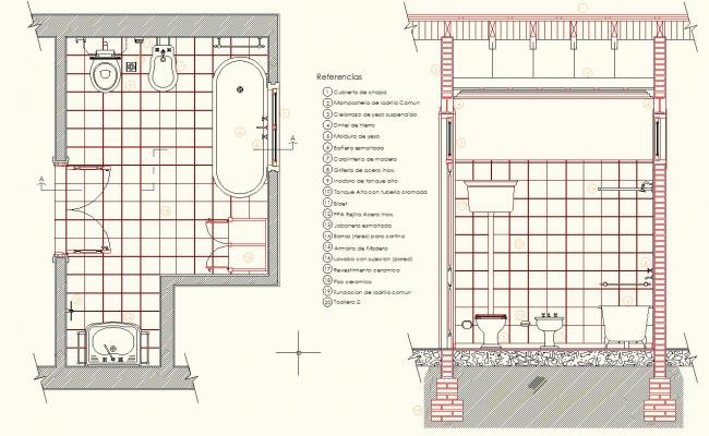 Detail Section Antique Bathroom Design Drawing Cool Bathroom Design Drawings