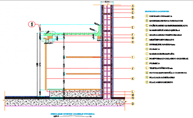 Detail section of kitchen furniture dwg file