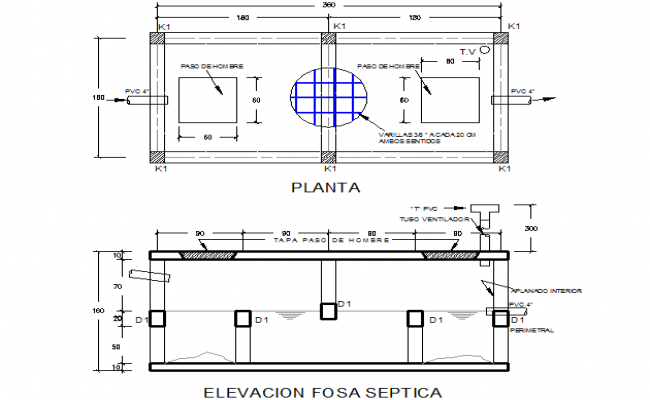 Detail septic tank plan and elevation dwg file