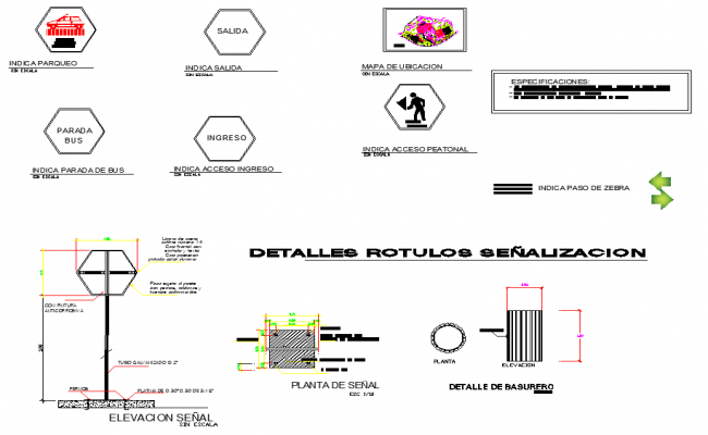 Detail signposting plan and elevation detail dwg file