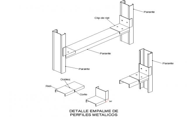 Detail splicing of metal profiles dwg file