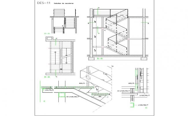 Detail stairway in zig-zag