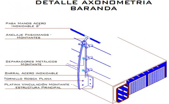 Detail steel handrail section dwg file