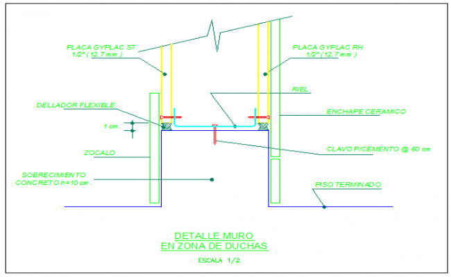 Detail wall in shower area design drawing
