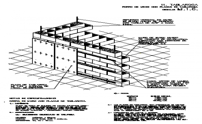 Detail wall of block with stone board design drawing