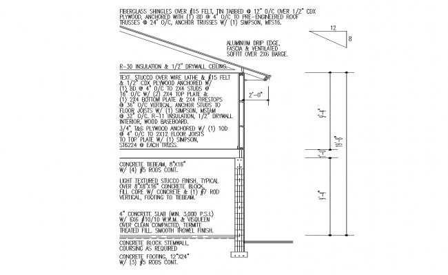 Detail wall section 2d view layout autocad file