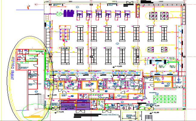 Detailed architecture layout plan view of maxi market dwg file