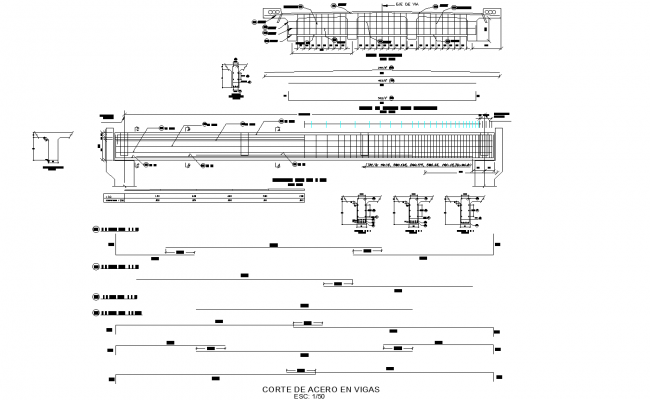 Detailed bridge inter-oceanic section plan dwg detail.,