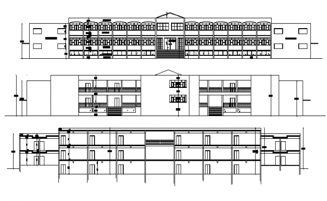 Detailed elevation and sectional view of primary school building dwg file