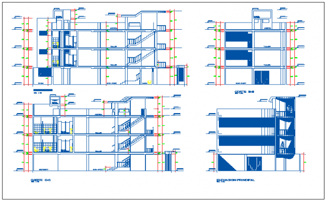 Detailed elevation and sectional view of three flooring clothing showroom dwg file