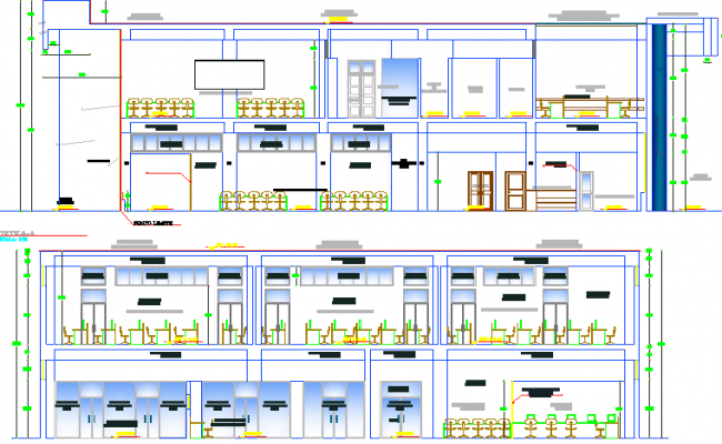 Detailed front and back sectional view of virtual library dwg file