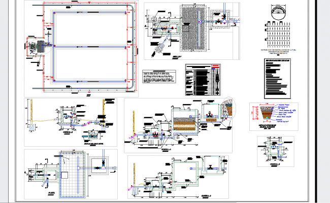 Detailed plan and sections of filtrante uptake in autocad dwg files