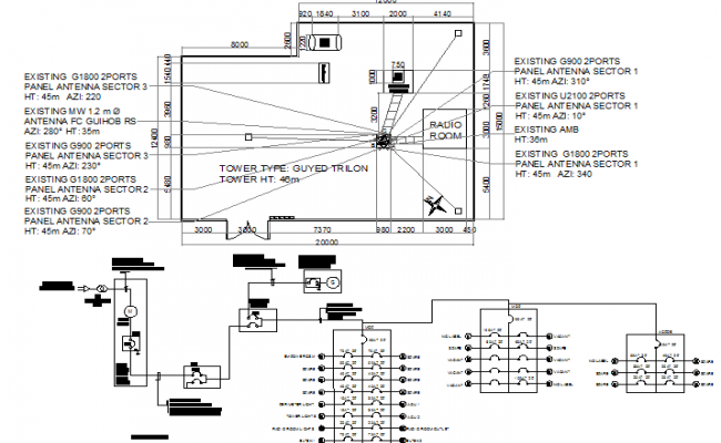 Detailed project of three legged electric tower installation dwg file