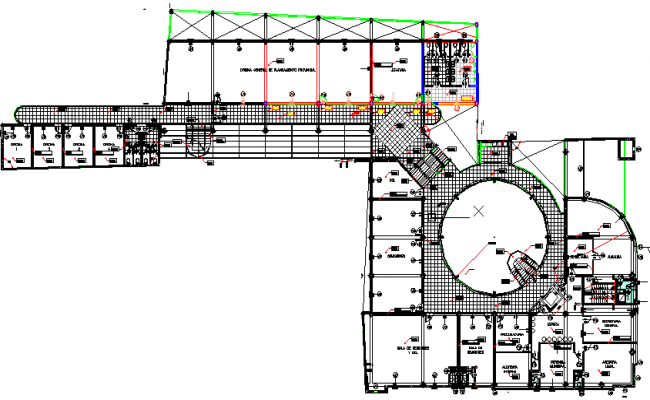 Detailed view of second floor layout plan of administration building dwg file