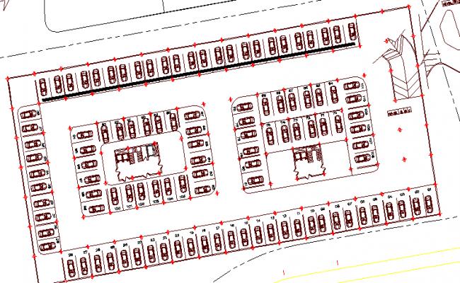 Detailing car parking lot view of children hospital dwg file