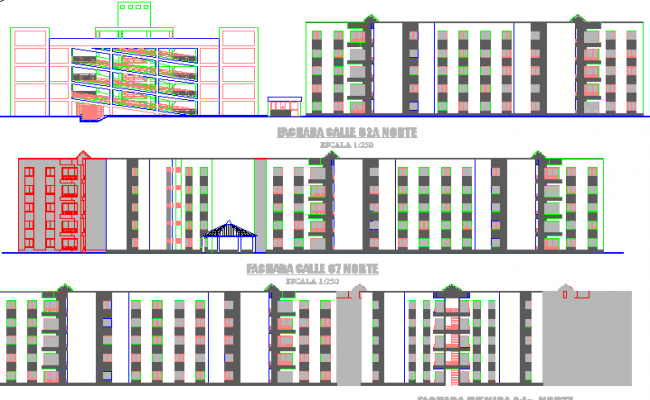 Detailing elevation view of multi-purpose corporate building dwg file
