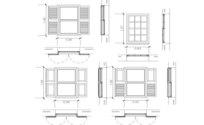 Detailing of window plan detail dwg file.