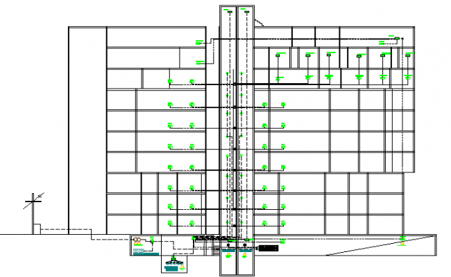 Detailing section view of Multi-family housing apartment dwg file