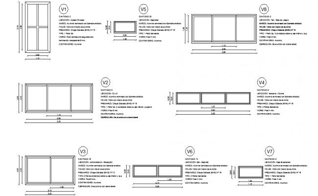 Details  of aluminium windows.