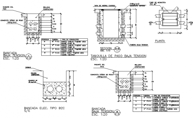 Details bench low tension dwg file