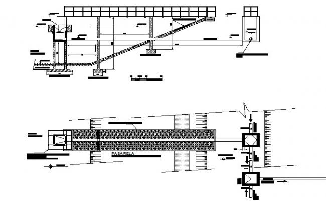 Details of Hydraulic profile and sewage lagoons dwg file