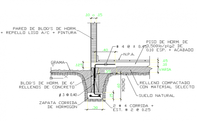 Details of a Foundation with concentric shoe