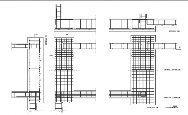 Details of beams, footings and reinforced foundation