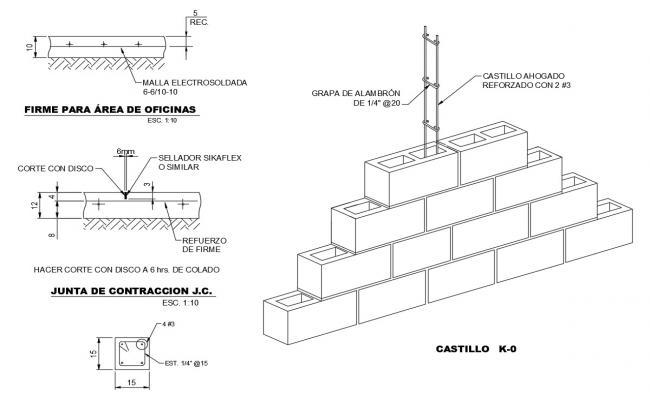 Details of castles-anti-seismic column cad structure details dwg file