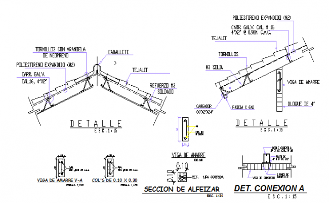 Details of foundation plan with doors and window installation of building dwg file