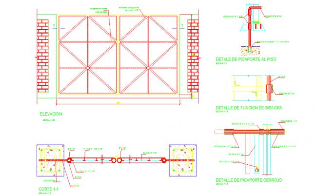 Details of garage iron door