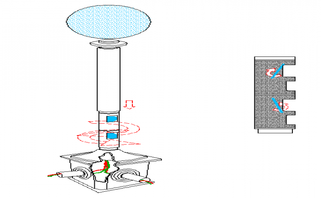 Details of lamp with laser system against intruders