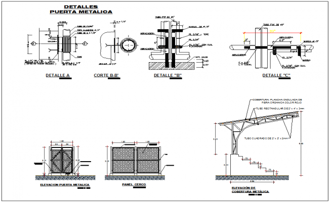 Details of metal door and seating roof arrangement dwg file