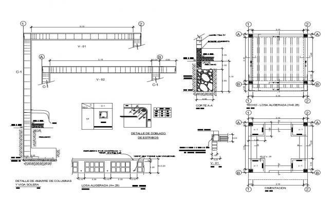 Details of mooring of solera column and beam dwg file