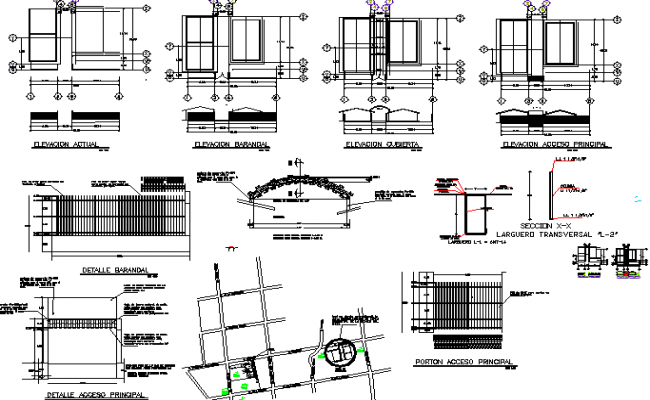 Details of perimeter fencing and roofing construction of house dwg file