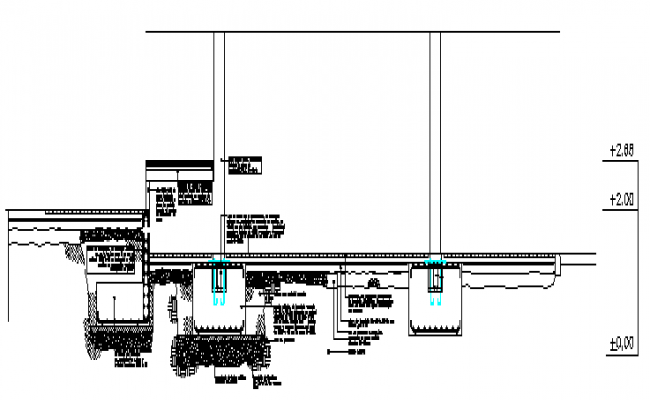 Details of pillars connection with the ground design drawing