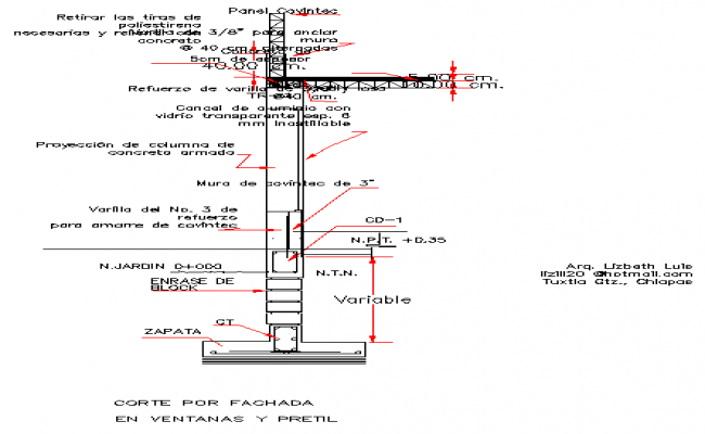Details of section for facade at window railing