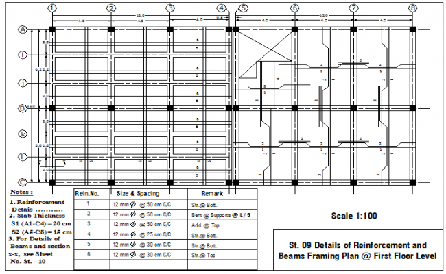 Details of slab and beam reinforcement at eight level dwg file