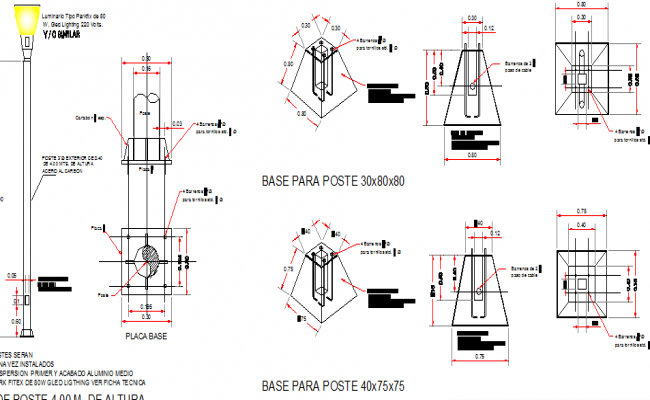 Details of steel lightning pole installation dwg file