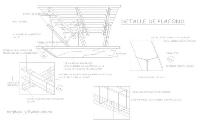 Details of suspended ceiling in isometric