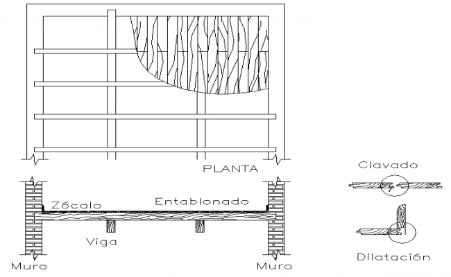 Details of wooden mezzanine