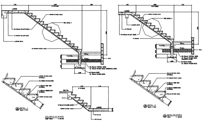 Details stair section detail dwg file