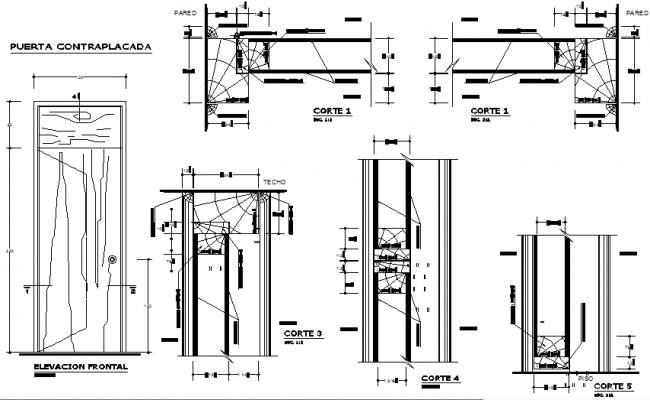 Details wooden door dwg file